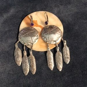 Large Old Pawn Dream Catcher Earrings Sterling